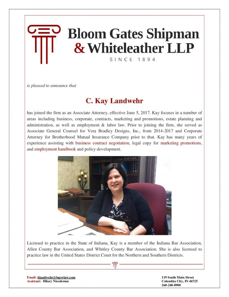 Our new attorney, Kay Landwehr
